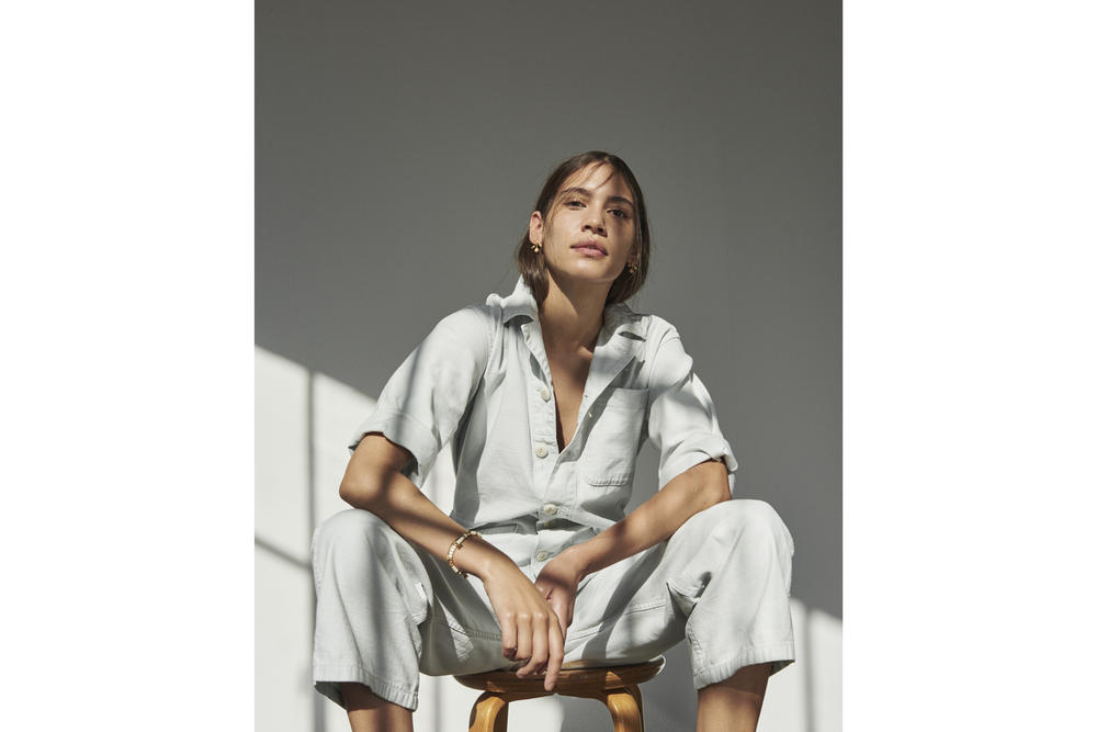Madewell x As Ever NYC Collection Coverall Bodysuit Shortall Dawn Mist