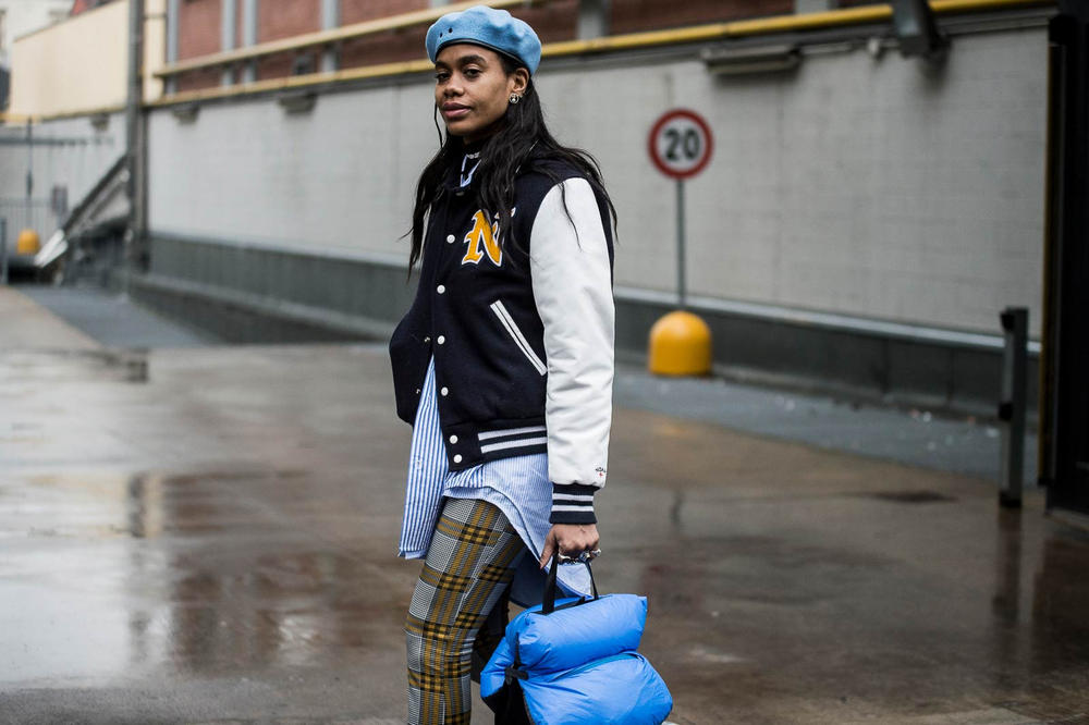 Milan Fashion Week 2018 Streetsnaps Women Beret Varsity Jacket