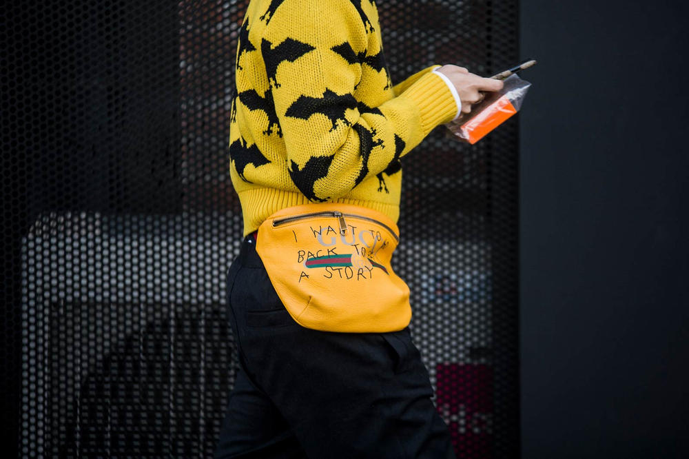 Milan Fashion Week 2018 Streetsnaps Women Gucci Fanny Pack Yellow