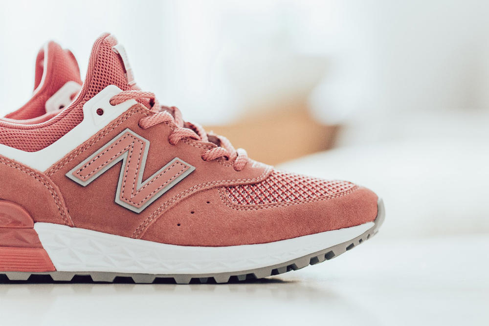 New Balance 574 Sports Dusted Peach Pink Rose Sneaker Close Up