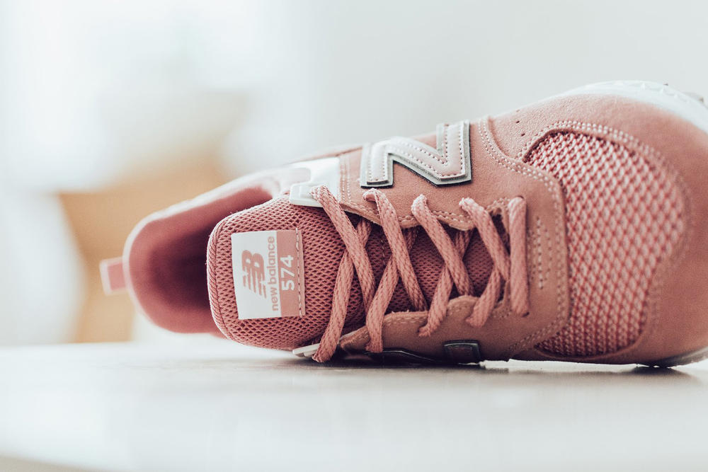 New Balance 574 Sports Dusted Peach Pink Rose Sneaker Laces Tongue