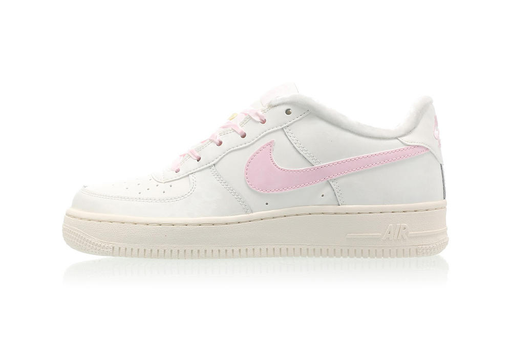 nike air force 1 womens millennial pastel arctic pink swoosh ribbon white off-white furry fuzzy fur-lined sneakers