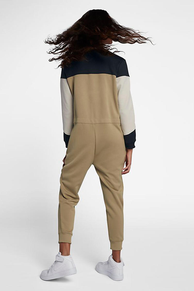 Nike Air Jumpsuit Tan Black Back View