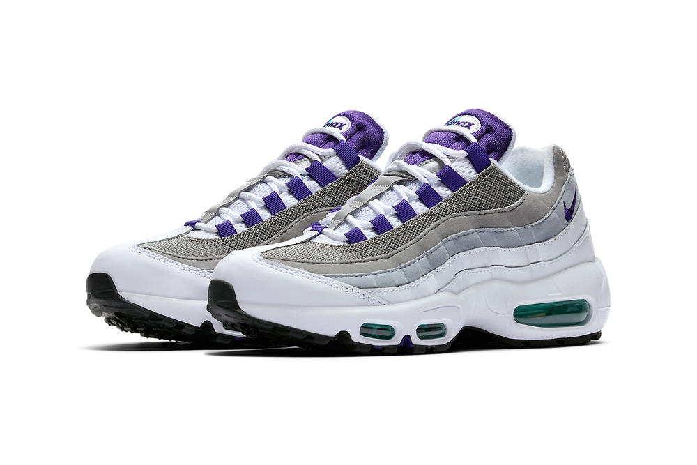 nike air max 95 womens wmns mens unisex sneakers grape 90s retro purple turquoise teal bubble nostalgia og original re-release archive
