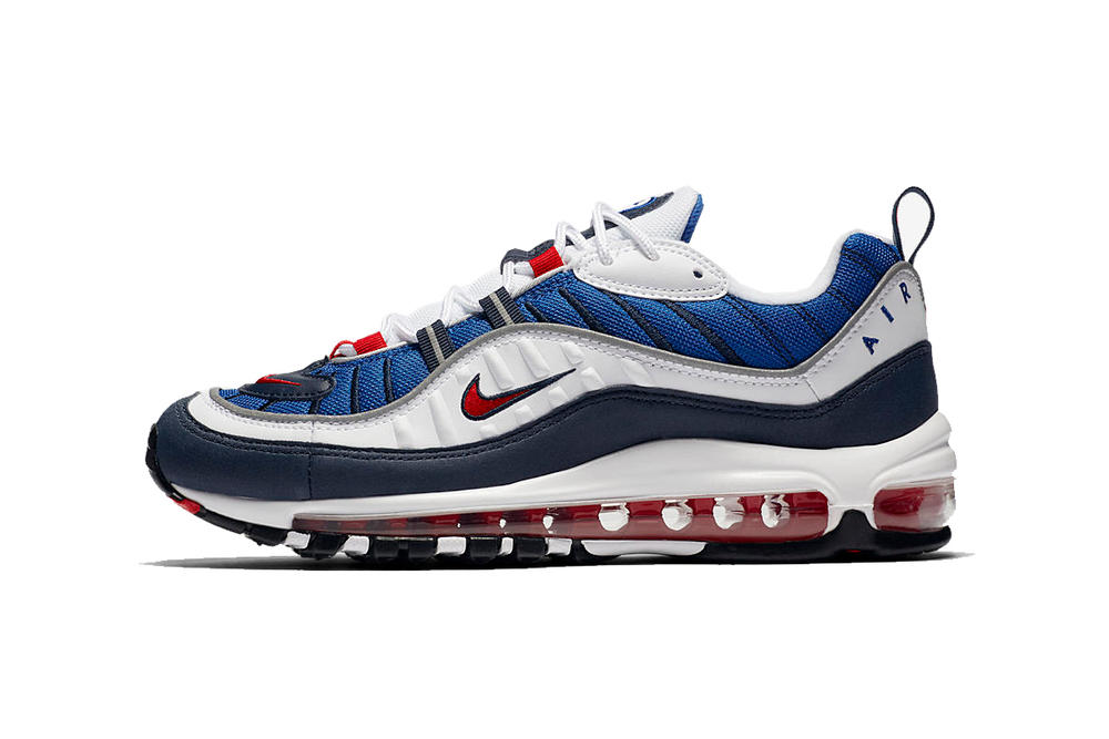 Nike Air Max 98 OG Gundam Seismic Velocity Red White Blue Side View