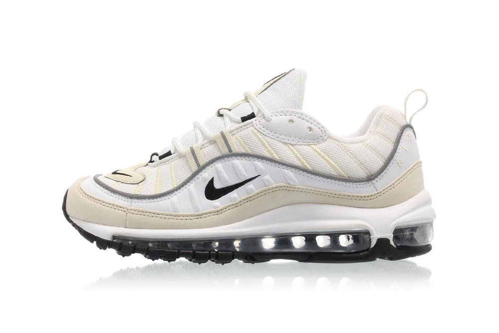 nike womens air max 98 white black fossil reflect silver cream off-white yellow beige minimal retro sneakers where to buy