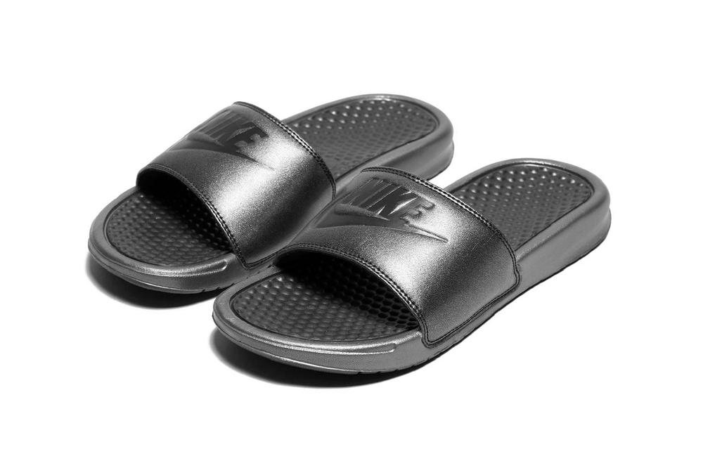 nike benassi womens slides sandals slip on metallic iridescent sparkly glitter black swoosh where to buy