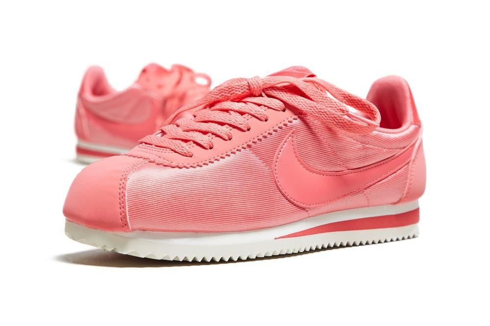 Nike Cortez womens nylon bright tropical pink white size