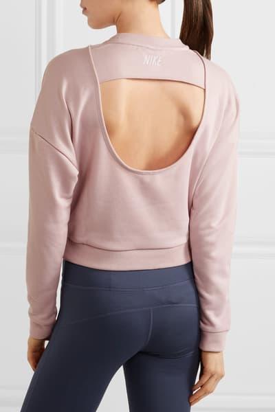Nike womens pastel pale light pink sweatshirt swoosh logo cutout where to buy minimal