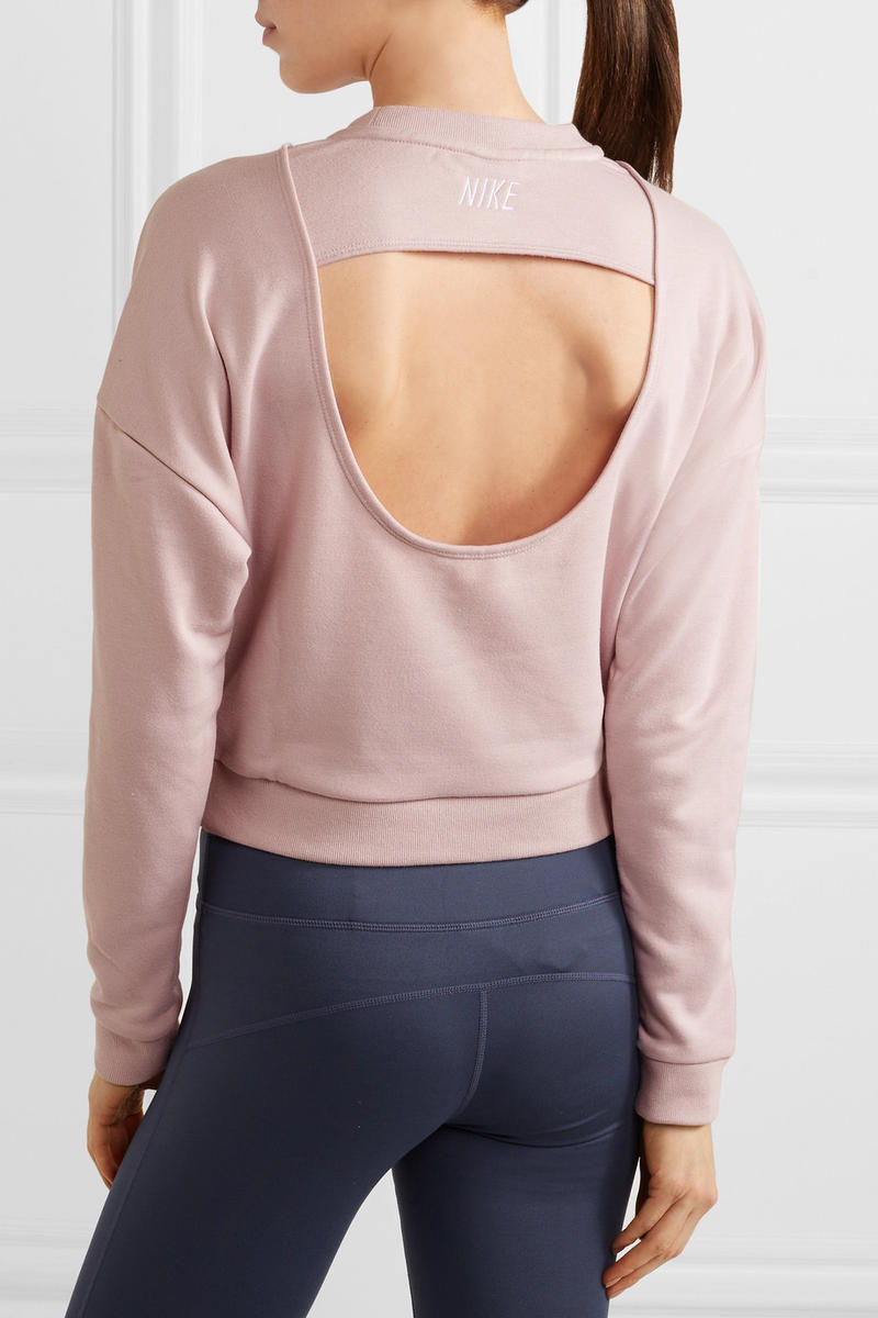 Nike womens pastel pale light pink sweatshirt swoosh logo cutout where to buy minimal