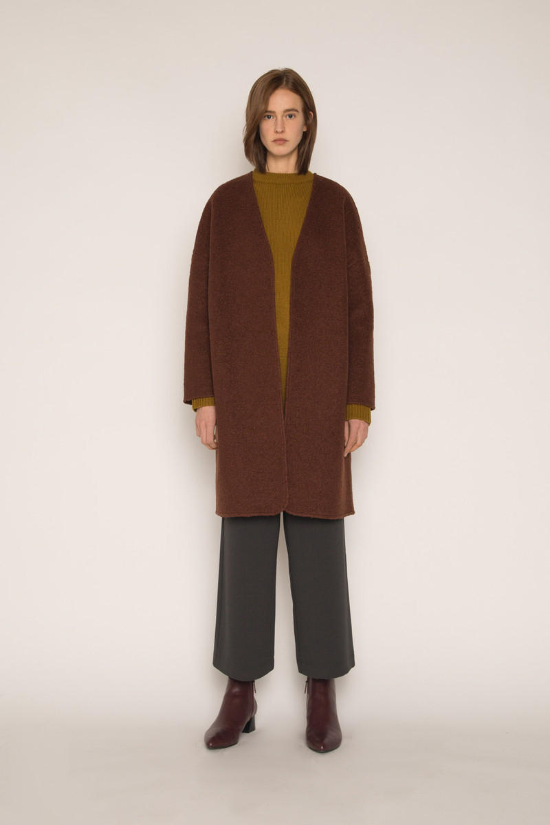 OAK + FORT Outerwear Flash Sale Cardigan Maroon Brown