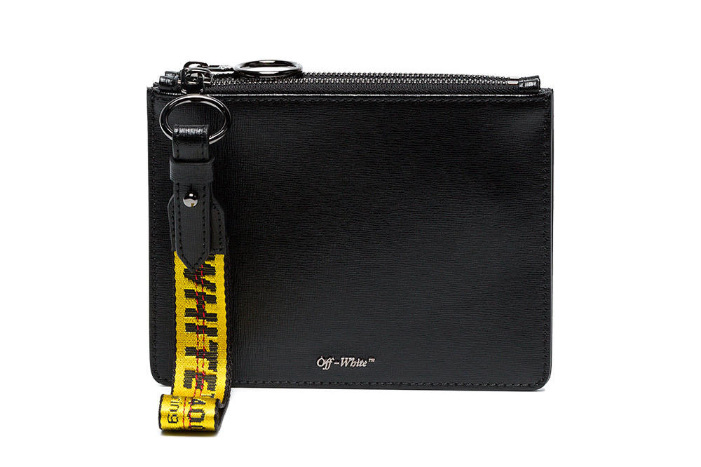 Off-White off white black white Double Flat leather Pouch industrial strap wrist wristlet where to buy
