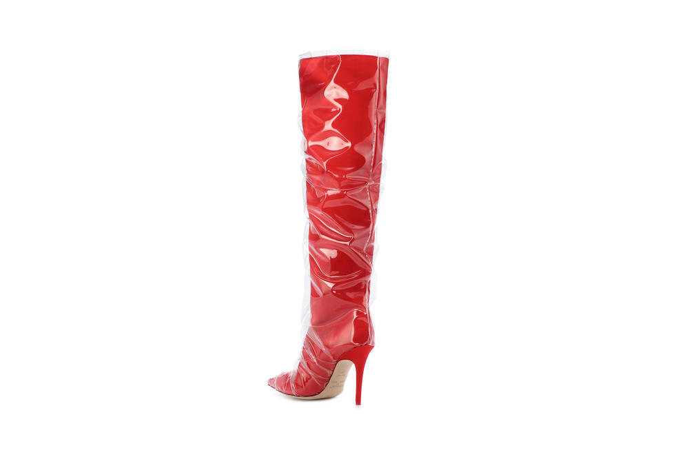 Jimmy Choo x Off-White Elisabeth 100 Satin Boots Red Transparent