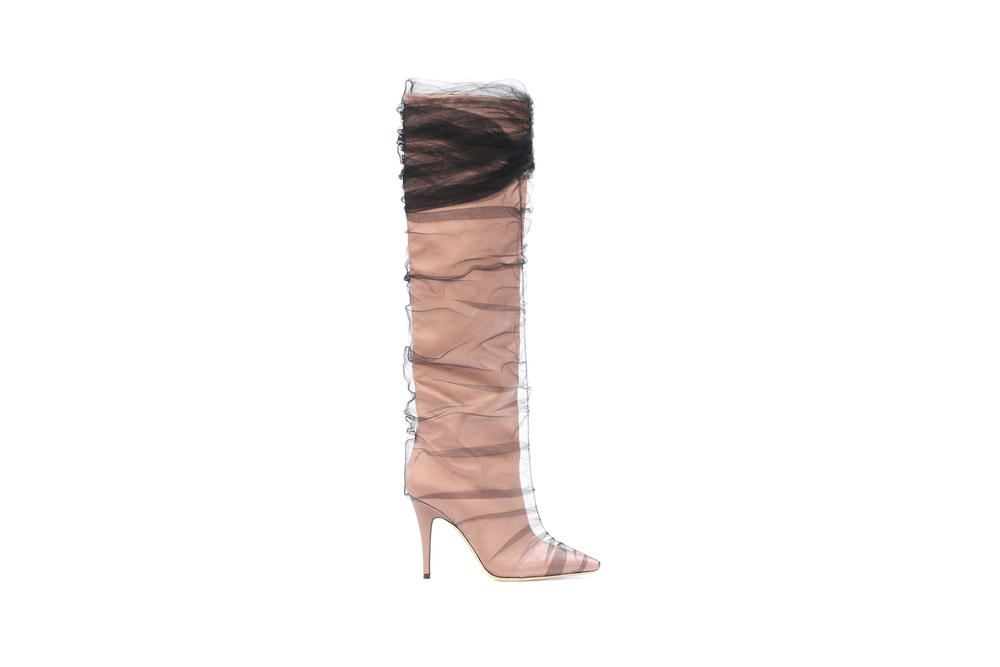 Jimmy Choo x Off-White Elisabeth 100 Tulle Satin Boots Nude Black