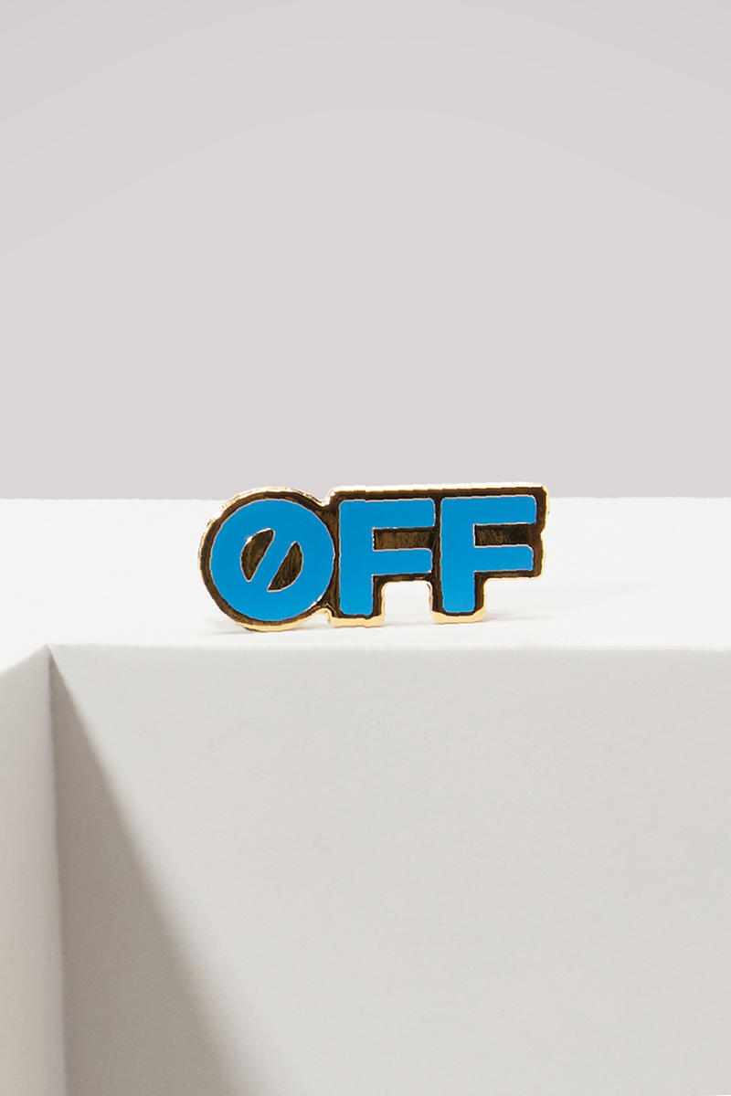 Off-White™ logo trend sneakers industrial belt sneakers pin badges pins where to buy 24 sevres