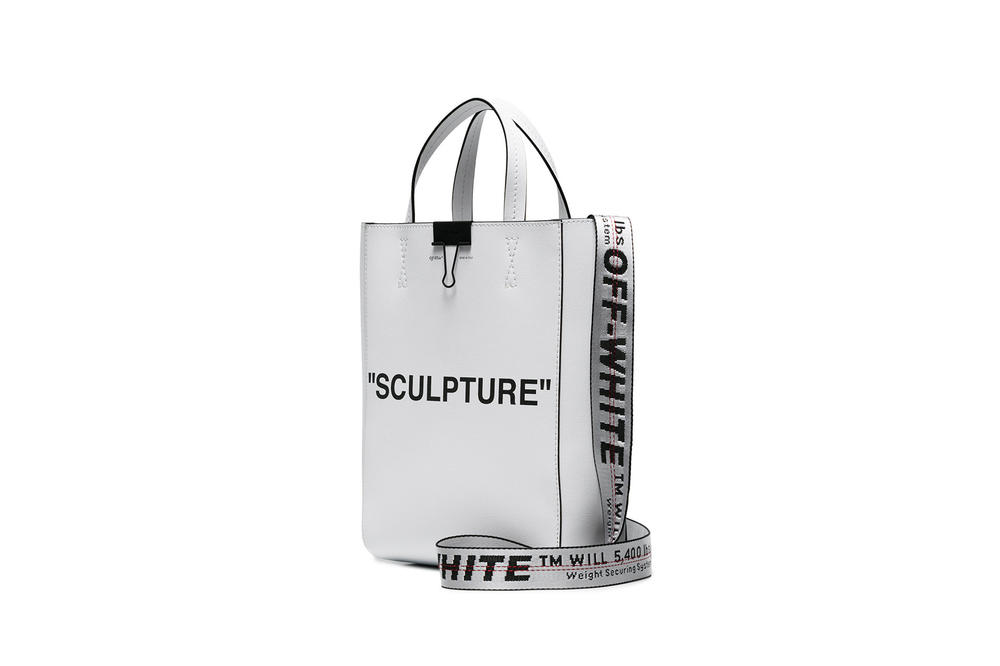 Off-White™ Sculpture Tote Bag White Colorway Industrial Strap Leather Bag Virgil Abloh