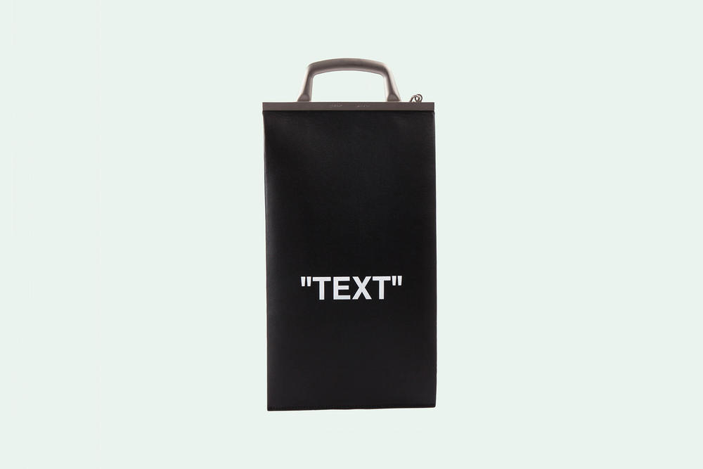 Off-White TEXT Purse Bag Leather Black White