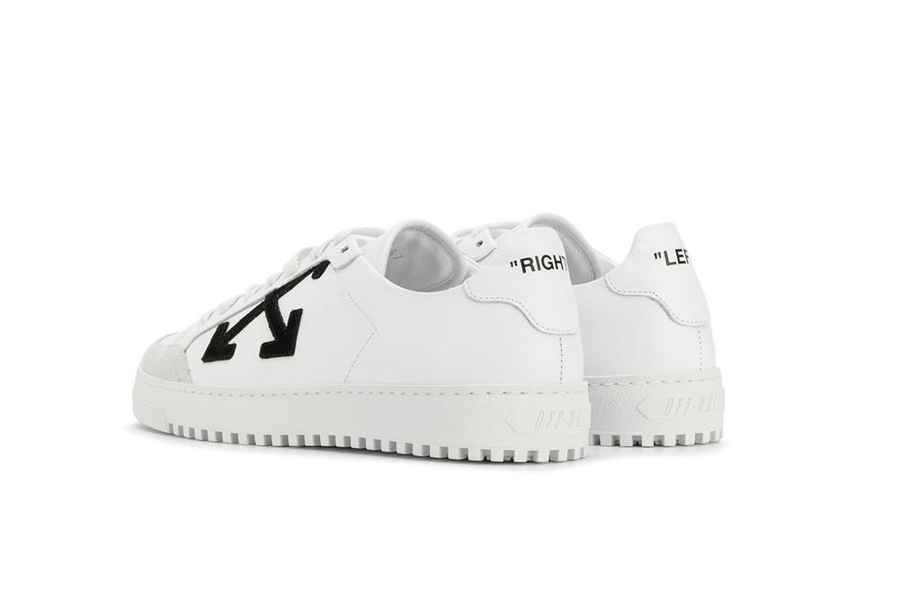 Off-White™ Minimal White Sneakers with Laces Virgil Abloh X Print Pattern Back View Heel