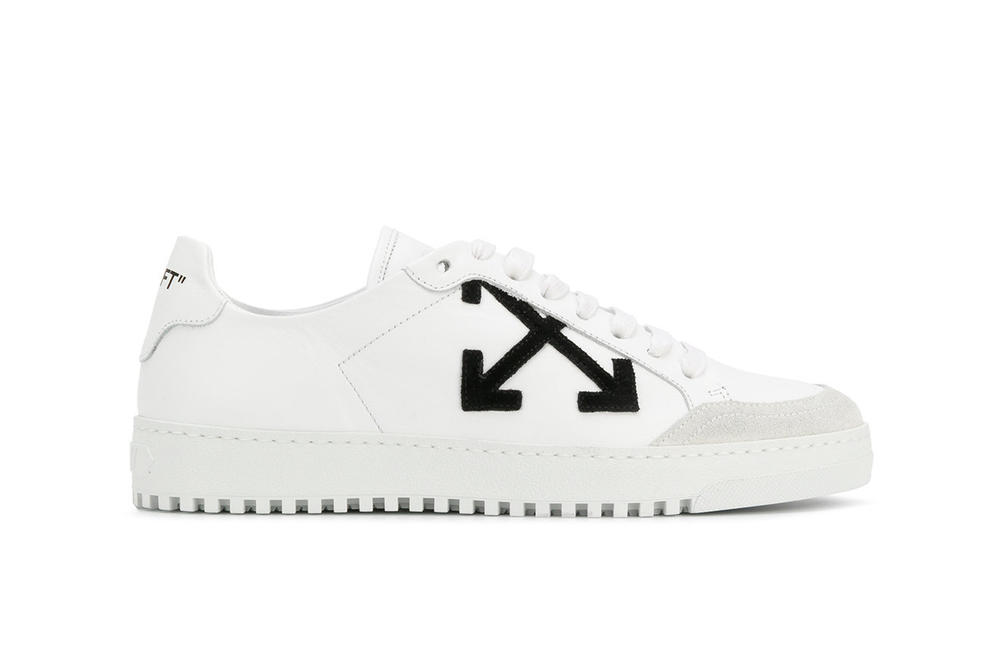 Off-White™ Minimal White Sneakers with Laces Virgil Abloh X Print Pattern Side View Sole