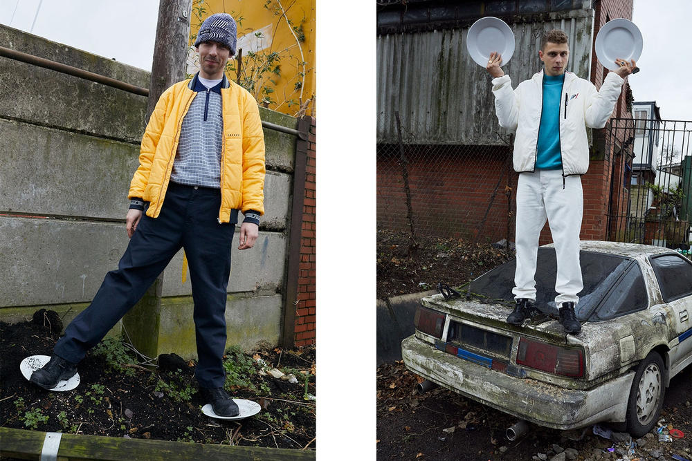 Palace Skateboards Spring 2018 Collection Lookbook Juergen Teller Yellow Bomber Jacket Patterned Beanie White Puffer Pants