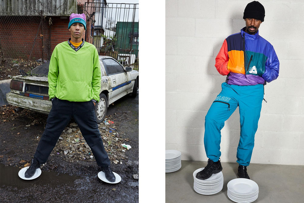 Palace Skateboards Spring 2018 Collection Lookbook Juergen Teller Green Sweater Purple Pullover Blue Sweatpants