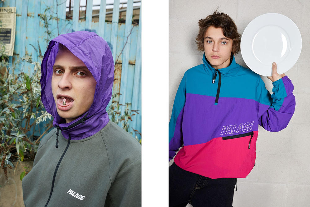 Palace Skateboards Spring 2018 Collection Lookbook Juergen Teller Grey Hoodie Purple Blue Pink Pullover