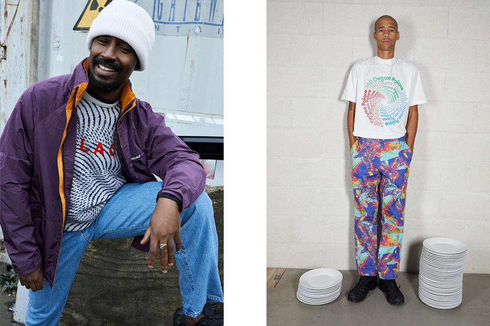 Palace Skateboards Spring 2018 Collection Lookbook Juergen Teller Purple Jacket Grey Sweater White Shirt Pattern Pants