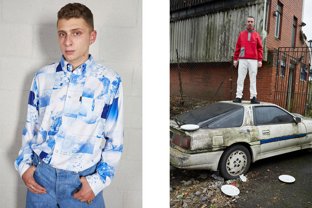 Palace Skateboards Spring 2018 Collection Lookbook Juergen Teller Blue Pattern Collared Shirt Red Sweater White Pants