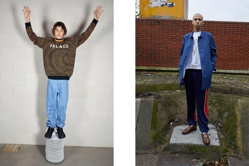 Palace Skateboards Spring 2018 Collection Lookbook Juergen Teller Orange Black Sweater White T-Shirt Red Stripe Pants