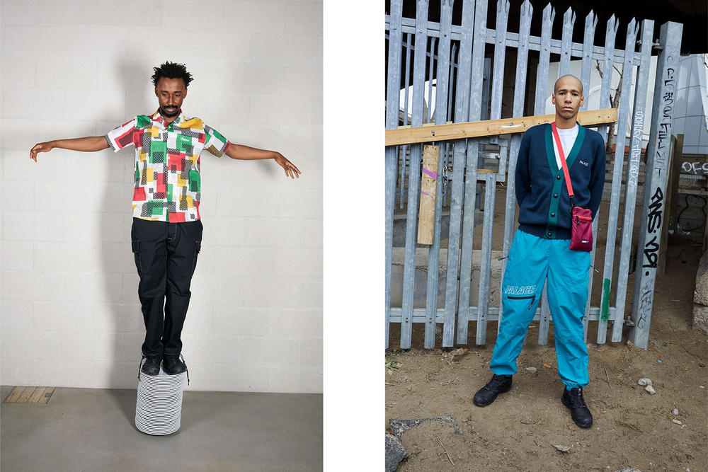 Palace Skateboards Spring 2018 Collection Lookbook Juergen Teller Patterned Collared Shirt Black Pants Green Blue Cardigan Maroon Bag
