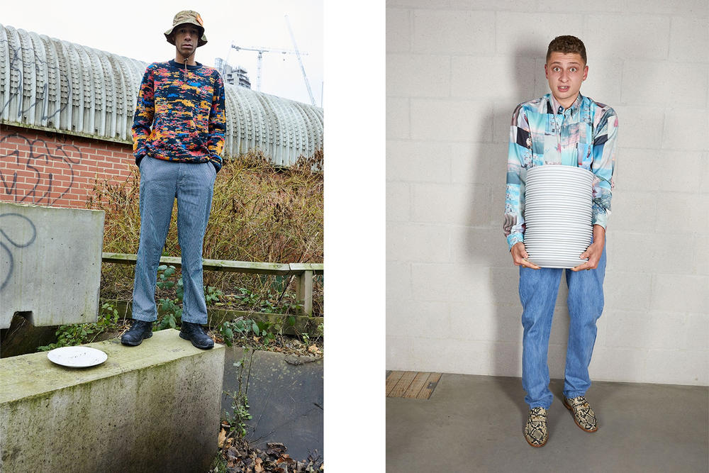 Palace Skateboards Spring 2018 Collection Lookbook Juergen Teller Patterned Sweater Camo Hat Collared Shirt Snakeskin Loafers