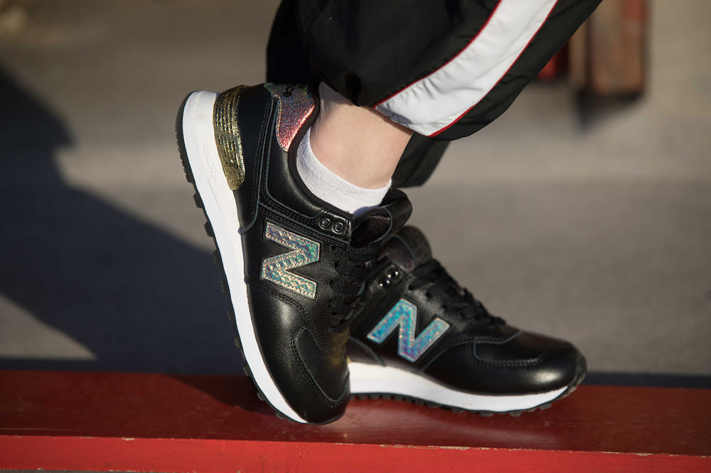 Pia Kristine Cruz New Balance 574 glitter pack editorial sneakers london fashion week lfw model tattoos
