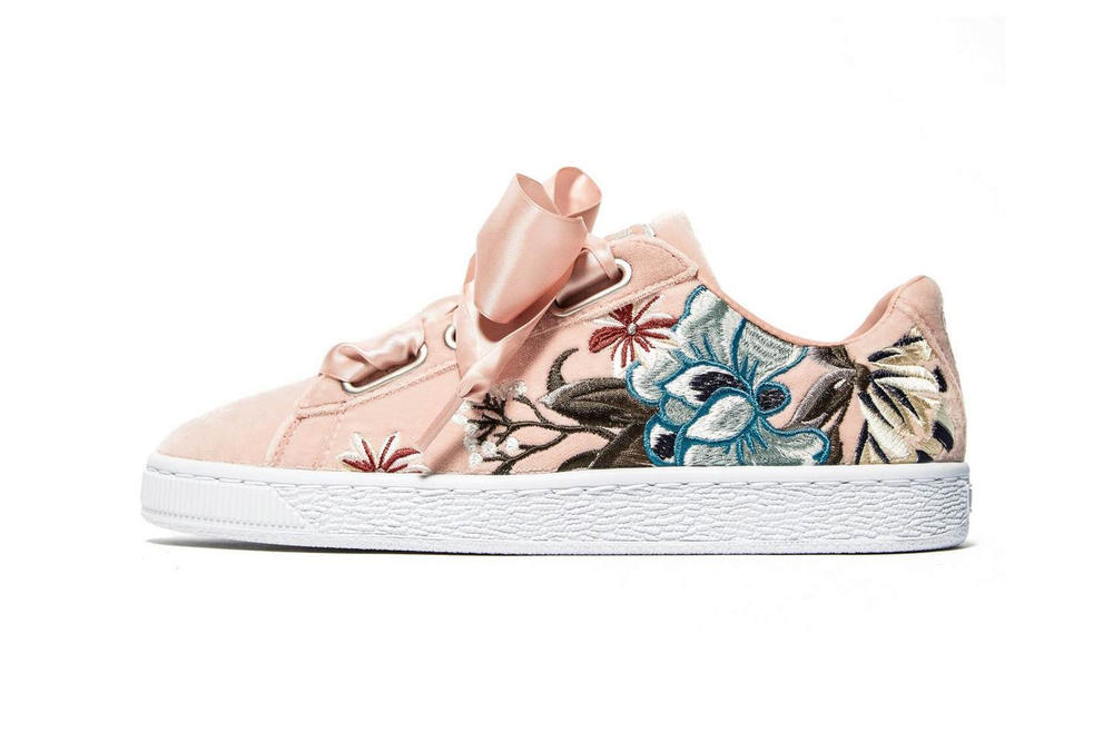 de5da00bfb1 Shop Puma s Basket Heart in a Floral Pink Color