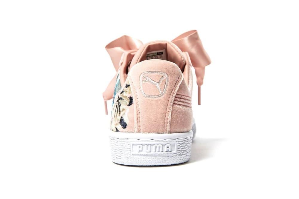 PUMA Basket Heart Embroidered Floral Pink