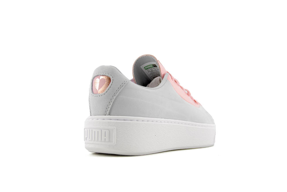 PUMA Basket Platform Valentine's Day Colorway Pink Grey Heart Sneaker Silhouette