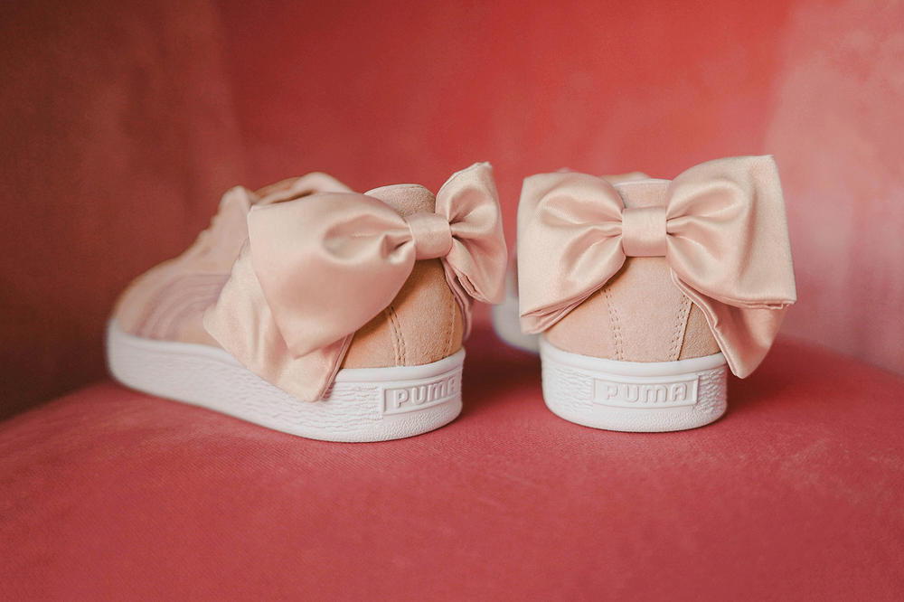 dad6f8e158da37 PUMA womens suede bow sneaker pastel pink rose gold satin where to buy