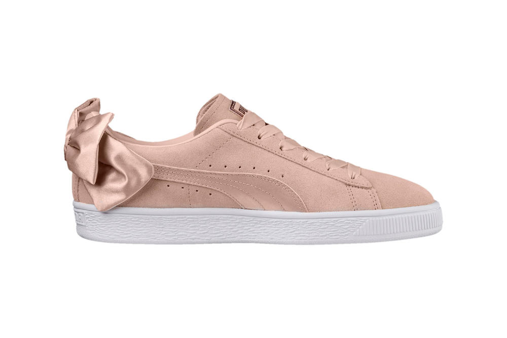 PUMA womens suede bow sneaker pastel pink rose gold satin where to buy