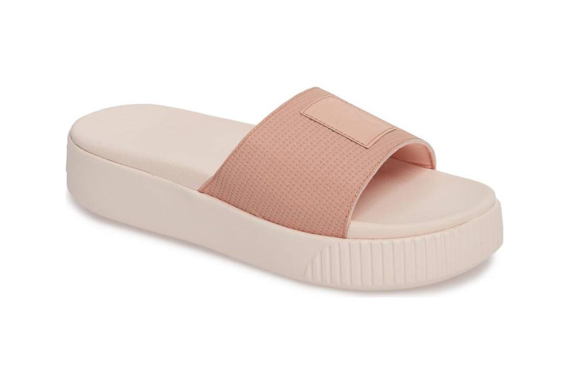 Pastel Pink and Black Platform Slides