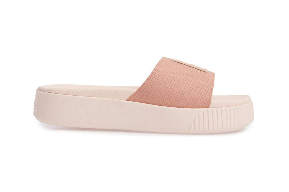 PUMA womens platform slide sandal flatform peach beige light pastel pink all black logo summer where to buy