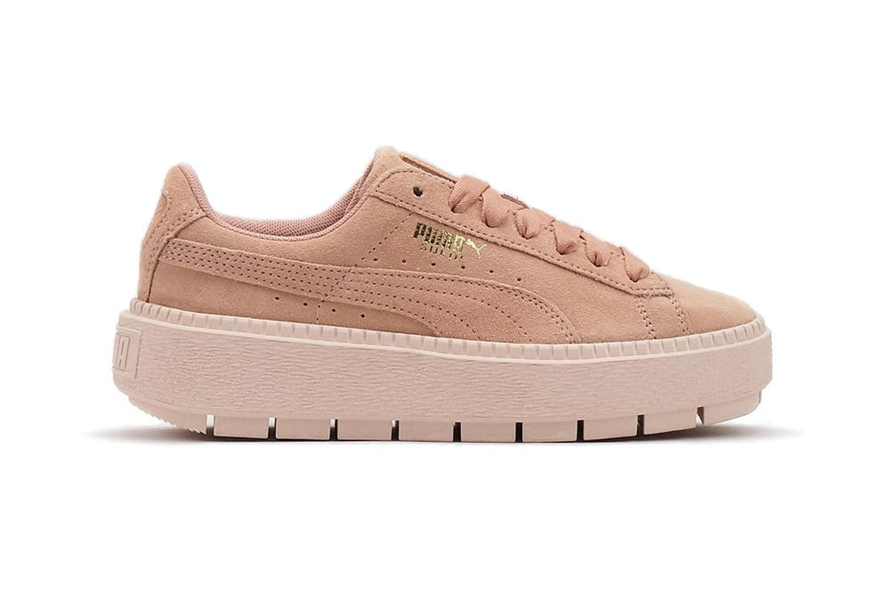 07ca660c299683 PUMA suede platform trace sneaker pastel peach beige pearl pink womens  where to buy chunky cleated