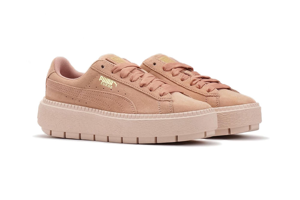 PUMA suede platform trace sneaker pastel peach beige pearl pink womens where to buy chunky cleated sole