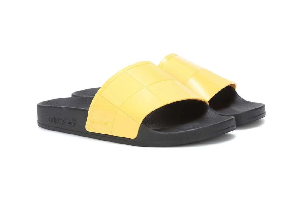 adidas originals raf simons adilette slides slip on sandals metallic grey yellow where to buy mytheresa.com