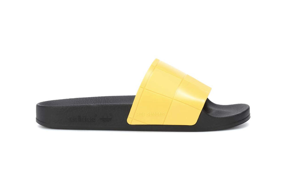 adidas originals raf simons adilette slides slip on sandals metallic grey yellow where to buy mytheresa.com
