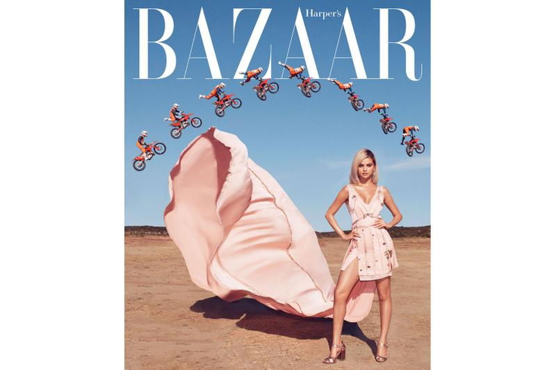 Selena Gomez March Cover Issue Harper's Bazaar Coach 1941 Gown Shoes Earrings