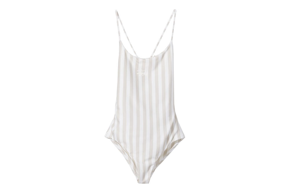 Stussy Women Carter Stripe One Piece Swimsuit Off White Cross Back