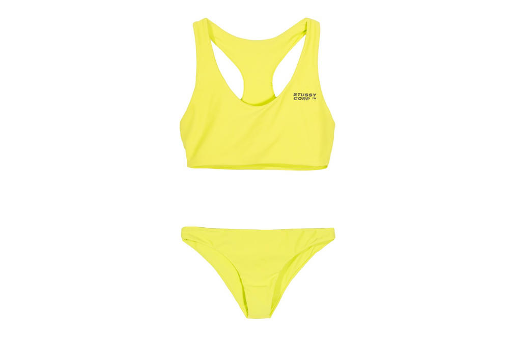 Stussy Women Ari Two Piece Swimsuit Bathing Suit Black Logo Neon Yellow