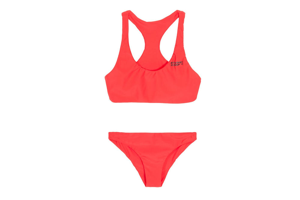 Stussy Women Ari Two Piece Swimsuit Bathing Suit Black Logo Red