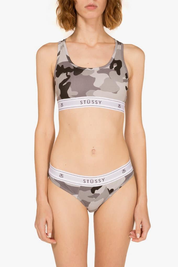 Stussy Women Grey Camo Underwear Cross Back Crop Top Bra Classic Brief