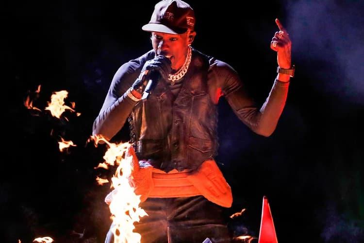 53rd Super Bowl Halftime Performance Travis Scott Maroon 5 Hat Vest Black Belt Brown