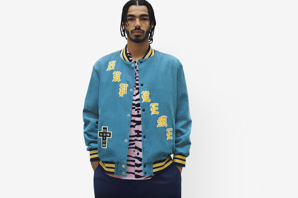 Supreme Spring/Summer 2018 Collection Lookbook Varsity Jacket Blue Yellow